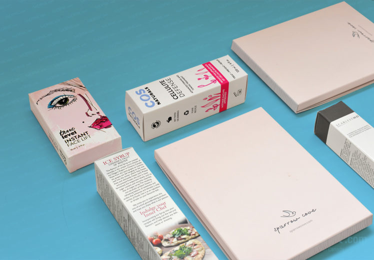 packaging boxes laid on blue background